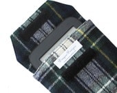 Nook Simple Touch, Nook Glow, Kindle, Kindle Paperwhite, sleeve, case, cover, eco-friendly recycled, wool tartan plaid navy,white, green