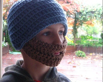 Blue Childrens Bearded Beanie - Ships Free