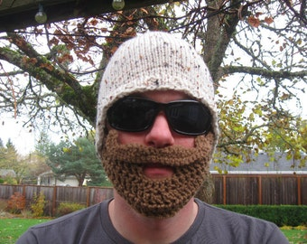 White Mustache Beard Beanie - Ships Free