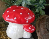 Amanita muscaria  Double Mushroom  Garden Statue from vintage mold
