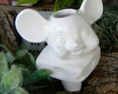 Water Spike Plant  Tender ....Mouse and cheese  White ceramic glazed vintage style