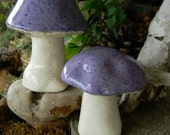 Lavender Purple  MUSHROOM Statue Set of 2  ..Ceramic Glazed ....   Poison only if ...eaten Ready to ship.