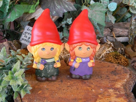 Female Garden Gnomes: 2 Garden Gnome Ceramic Girl Lady Miss By EnchantdMushroomLand