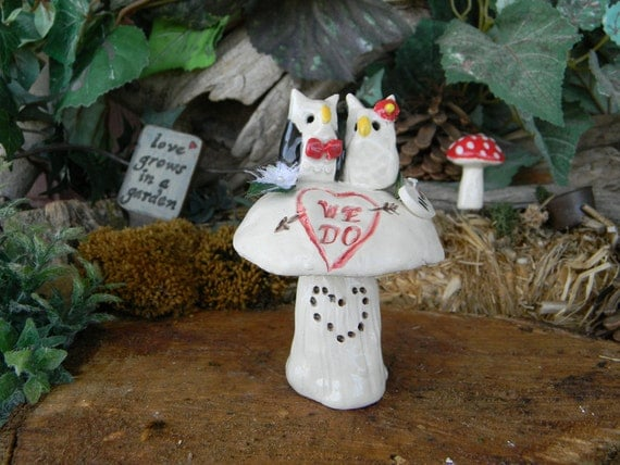 OWL  Cake Topper Wedding Owls on a Mushroom- hand made - personalized Custom made