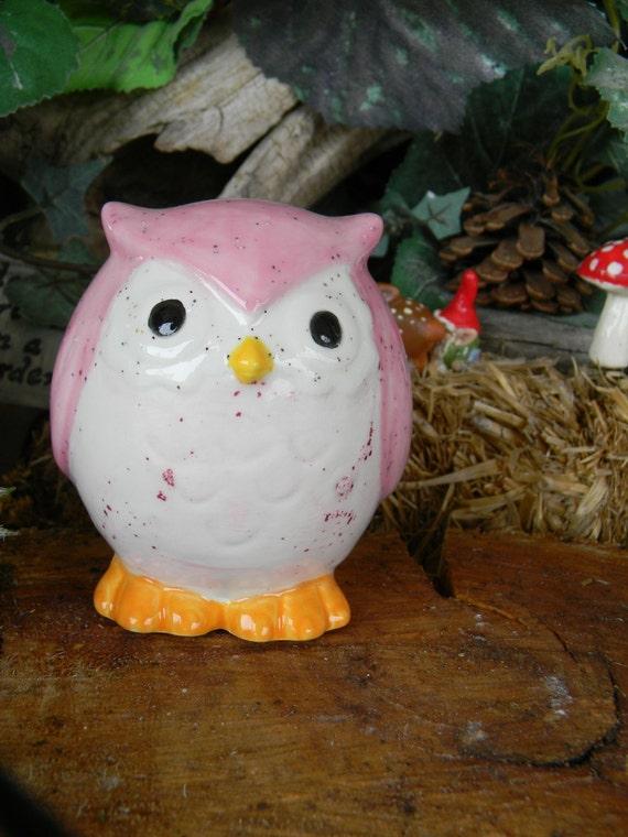Ceramic Modern  Glazed  OWL   Pink     baby girl
