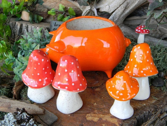 2   Mushroom Statues  Home Grown Ceramic  Shrooms  Amanita muscaria fly agaric Glazed Glass Finish Sunset