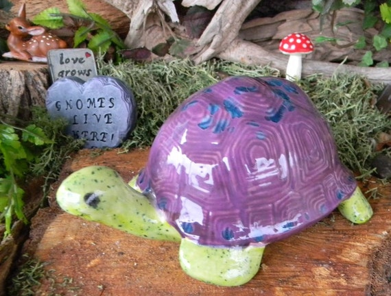 Turtle - Wild - Bright green purple -Vintage Guy from the past...Ceramic Garden Statue