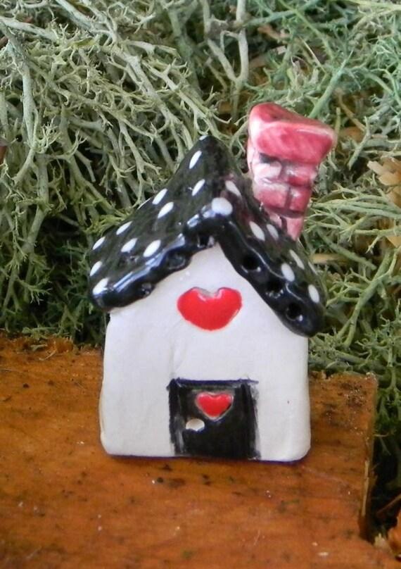 Black Roof terrarium  Ceramic glazed  Clay   House Miniature with a heart