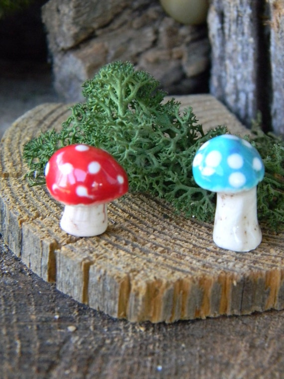 2  ceramic mushroom Stake  miniature  red amanita muscari .. ..  terrarium or miniature gardens Glazed Glass Finish