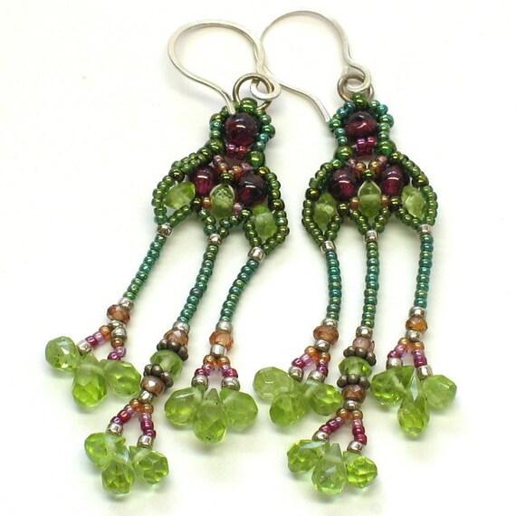 Three Drop Earrings in Leaf Green Peridot Burgundy Garnet Orange Sapphire Sterling Silver