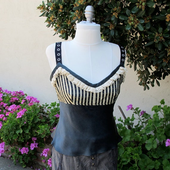 REDUCED PRICE Steampunk Silk Camisole Shirt with Black Stripes and Lace Ruffles