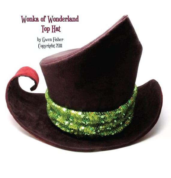 Wonka of Wonderland Top Hat No.6 in Deep Purple Burgundy Lime Sequins
