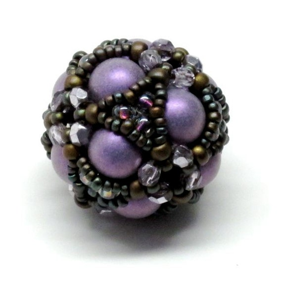 Cube Cluster Beaded Bead in Purple Silver