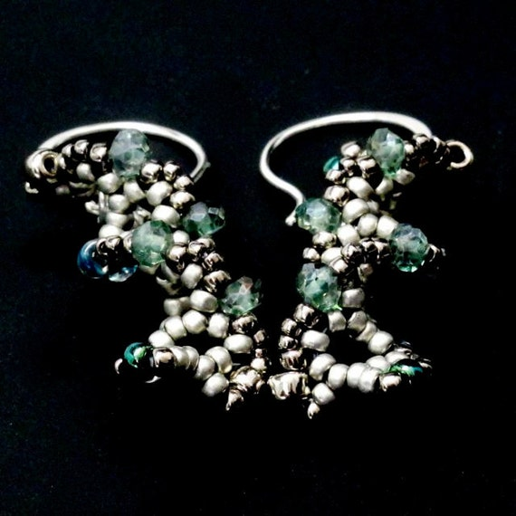 DNA Beaded Earrings in Green Sterling Silver Ear Wires