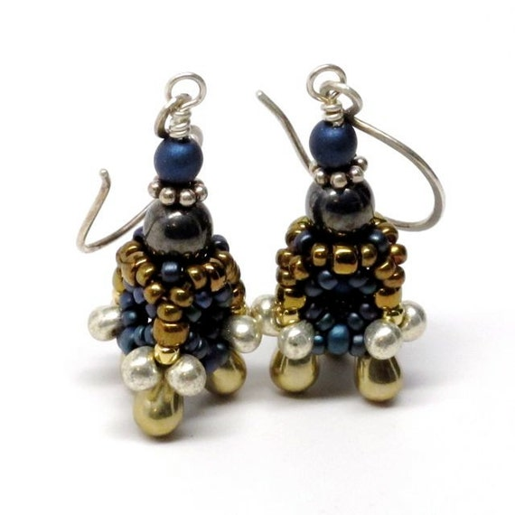 Triangle Temple Beaded Bead Earrings Sterling Silver Wire