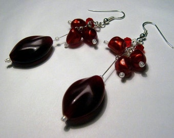 Red Holly Christmas Earrings