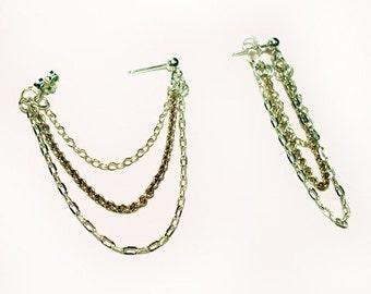 Triple Chain silver earrings