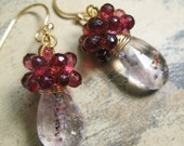 Moss amethyst dangle earrings pink garnet tear cluster gold : katecojewelry