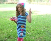 PEACE Love Cupcake appliqued and embroidered striped dress