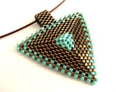 Peyote Triangle Pendant / Beaded Pendant in Brown and Turquoise  / Geometric Pendant / Seed Bead Pendant / Beaded Necklace / Beadwork