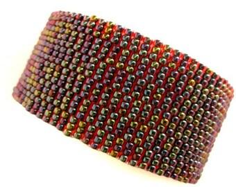 Peyote Bracelet / Seed Bead Bracelet in Garnet Lined Ruby / Beaded Bracelet / Beadwork Bracelet /  Beadwoven Bracelet ( Made to Order)