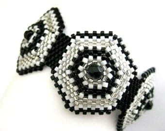 Beadwork Peyote Bracelet in Silver, Black and White Beadwoven Hexagon Classic Beaded Cuff Seed Bead (Made To Order)