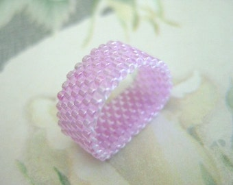 Peyote Ring in Light Lilac Pearl Beaded Band  Simplicity  - size 4, 5, 6, 7, 8, 9, 10, 11, 12, 13