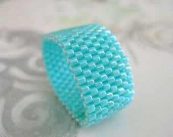 Peyote Ring / Seed Bead Ring in Turquoise  / Beaded Ring / Peyote Band / Custome Ring / Beadwork / Size 4, 5, 6, 7, 8, 9, 10, 11, 12, 13