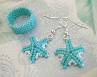 Peyote Earrings and Ring in Turquoise and White -  Seed Bead Beaded Band Beadwork Star Earrings Handmade Simplicity Minimalistic Classic