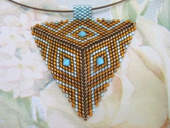 Peyote Triangle Pendant in Brown, Amber and Sapphire Beadwoven Handmade Choker Seed Bead Beadwork