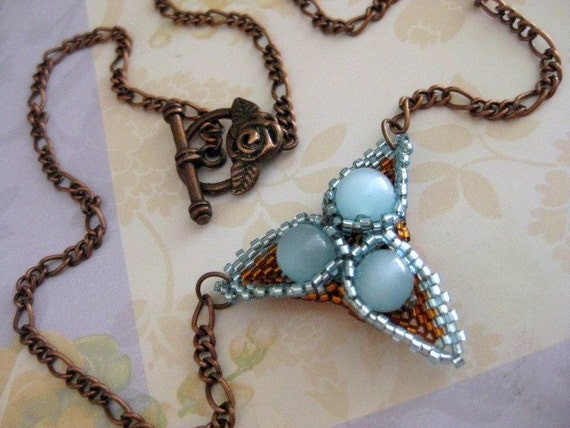 Beaded Peyote Triangle and Copper Chain Necklace Beadwoven  Blue  Amber  Brown Beaded Seed Bead Handmade