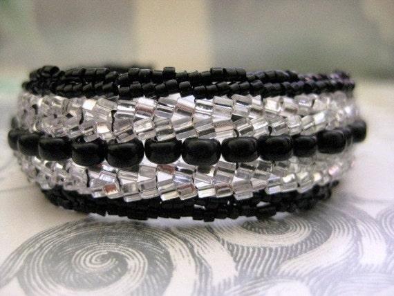 Herringbone Bracelet in Black and Silver Beadwork Sparkly Seed Bead Cuff Handmade Beaded