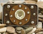 12 gauge shotgun shell leather belt buckle