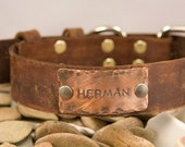 Leather  dog collar, 1 inch, distressed