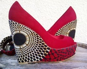 Red African Print Wedge
