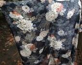 Vintage Sheer Black Autumn Floral Kaftan Dress Mini