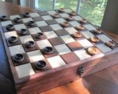 Inlayed Checkerboard Box Plus Checkers
