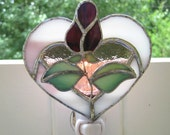 Purple Rose Bud Stained Glass Night Light