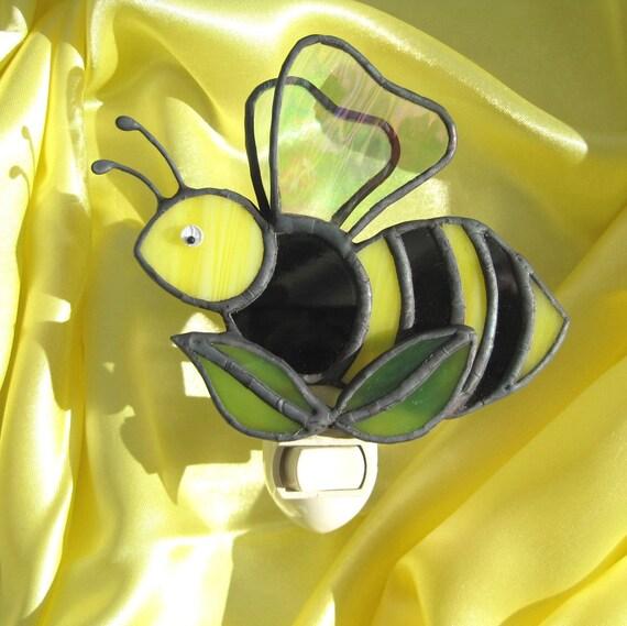 Honeybee Stained Glass Night Light