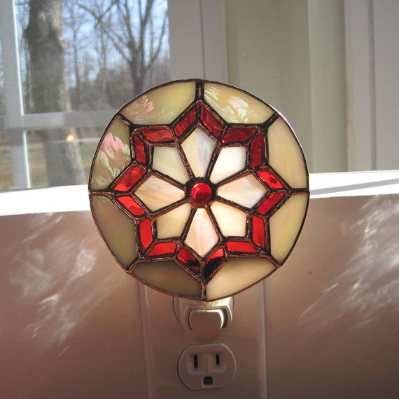 Ruby and Gold Stained Glass Night Light