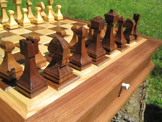 Designer Chess and Checker Board Box with Playing Pieces