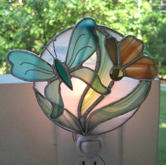Misty Morning Stained Glass Butterfly Night Light