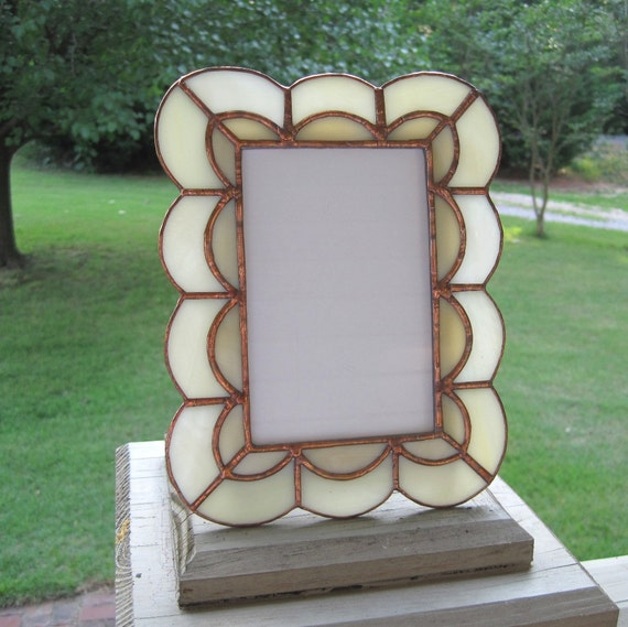 Honey and Cream 4 x 6 Stained Glass Picture Frame