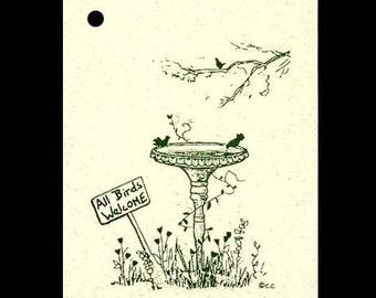 100 Birdbath Whimsical Hang Tags & 100 Strings Included -  Price Tags