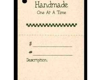"100  ""Handmade One At a Time"" Hang Tags, Price Tags, for Gifts & Crafts. Strings Included.  Perforated For Price."