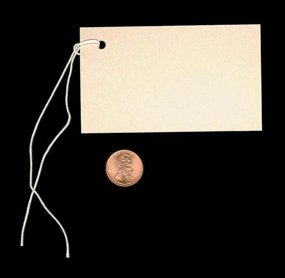 100 Lg BLANK ECRU Hang Tags & Strings. Size 2-1/8 x