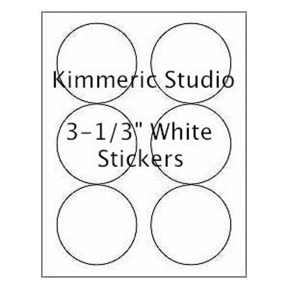 """6 SHEETS - 36 3-1/3"""" Blank Round Circle WHITE Stickers for Inkjet & Laser Printers. Size: 8-1/2""""x11"""" Standard Sheets"""