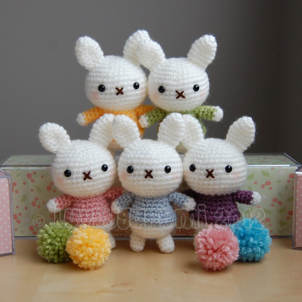 Crochet Patterns Rabbit : Baby Bunny Crochet Pattern by LuvlyGurumi on Etsy