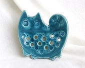 Turquoise cat (Soap Dish - Wall picture)