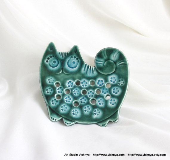 Green and Turquoise Summer cat (Soap Dish - Wall picture)